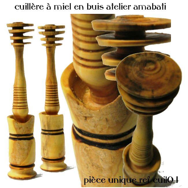 Cuillère à miel en bois de buis des Alpes de Haute Provence