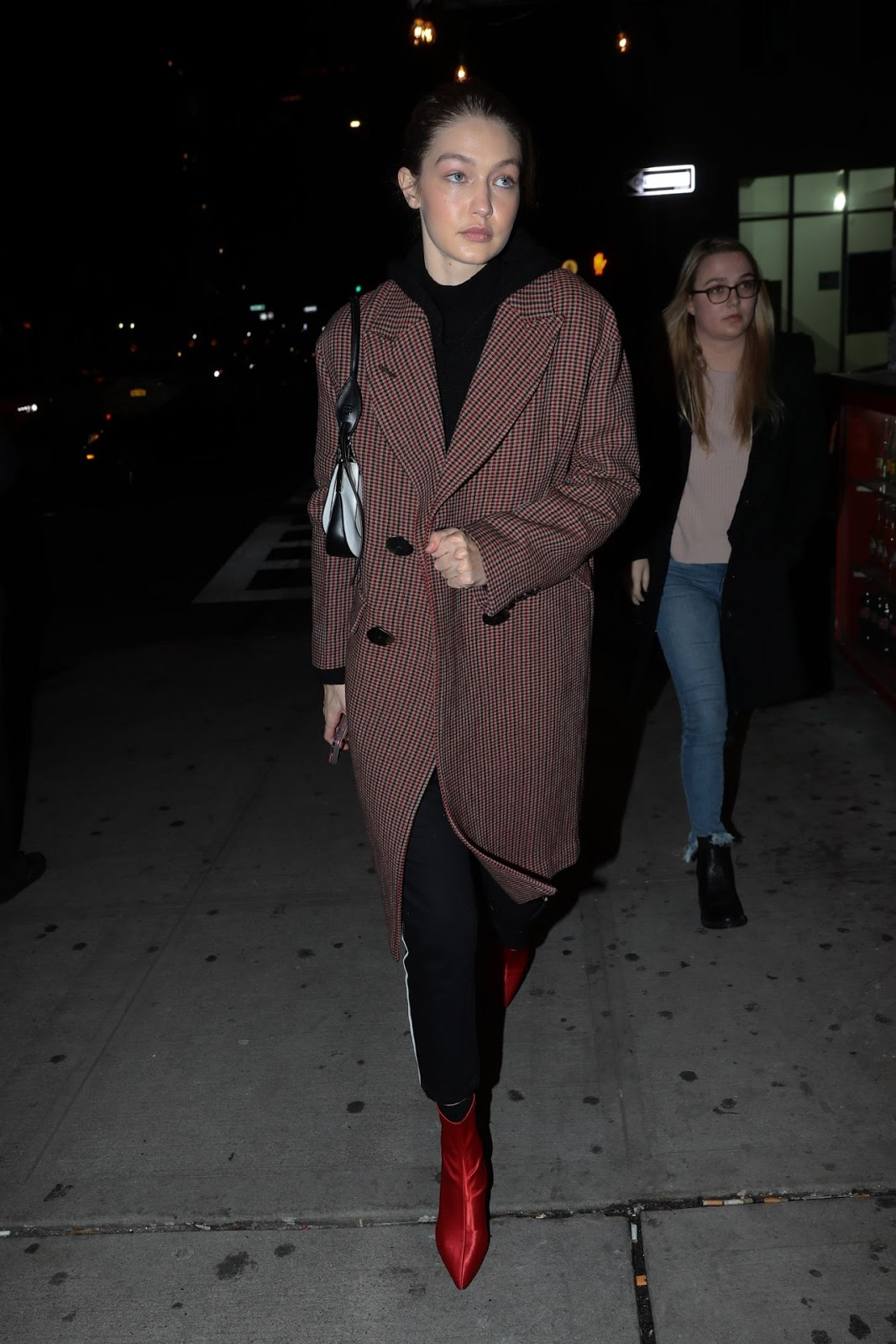 Gigi Hadid Spotted in New York City during a night out wearing Mango  Carlitos Coat Brown  190.95, BLANKNYC High Waist Side Stripe Ankle Skinny  Jeans  98, ... 08d716f9ab