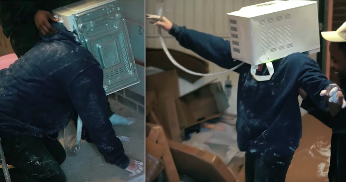YouTuber Almost Kills Himself After Cementing His Head Inside A Microwave