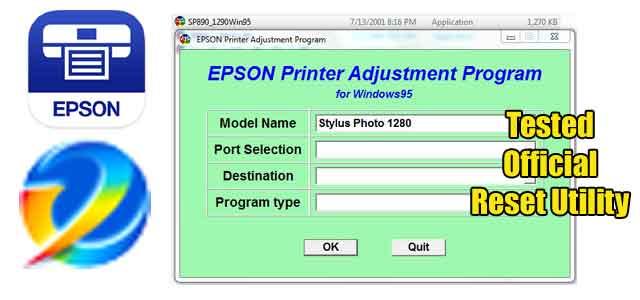 Epson Stylus Photo 1280 Adjustment program (Reset Utility) Free Download