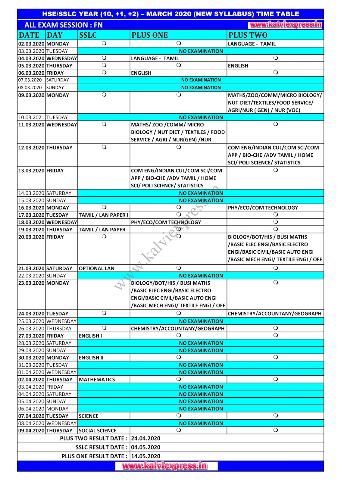 DGE TIME TABLE MARCH 2020 - SSLC - PLUS ONE - PLUS TWO PUBLIC EXAM TIME TABLE SINGLE PAGE.