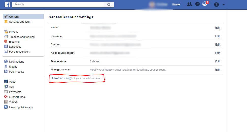 Download and Backup Facebook Data