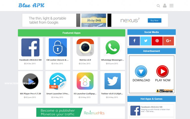 Responsive Android App Showcase Blogger Templates