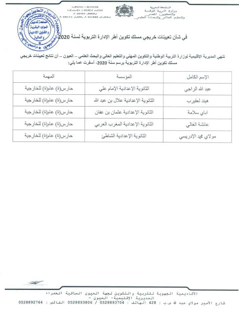 نتائج تعيين خريجي مسلك الإدارة التربوية لسنة 2020 بالمديرية الإقليمية العيون