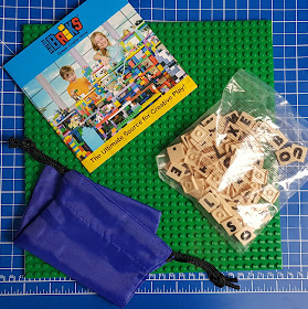 Strictly Briks AlphaBriks set contents 100 tiles plus storage bag and baseplate