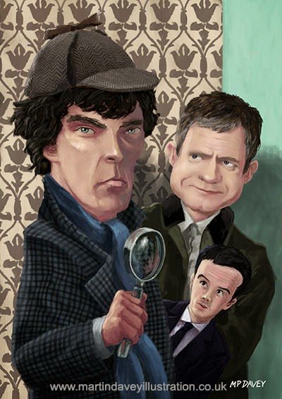 Sherlock Homes Watson and Moriarty at 221B-digital cartoon painting