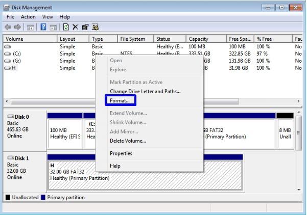 Format dengan Disk Manajemen