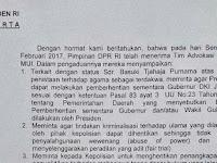 DPR kirim surat ketiga pada Jokowi minta Ahok dipecat, Jokowi Tetep Diem Terus