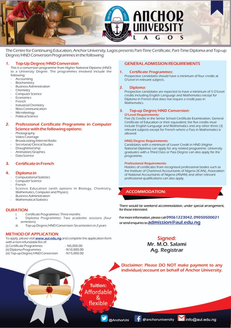 Anchor University Part-Time Form 2021/2022 [Certificate & Diploma]