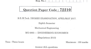 MG6863 Engineering Economics Last 5 Years Question Papers PDF