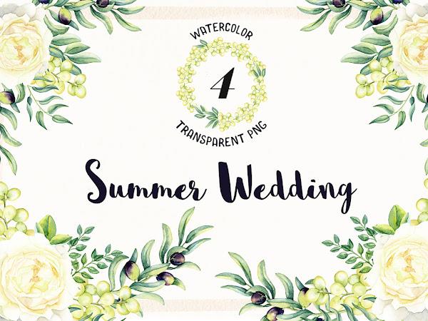 Download 4 Watercolor Wedding Flowers Free