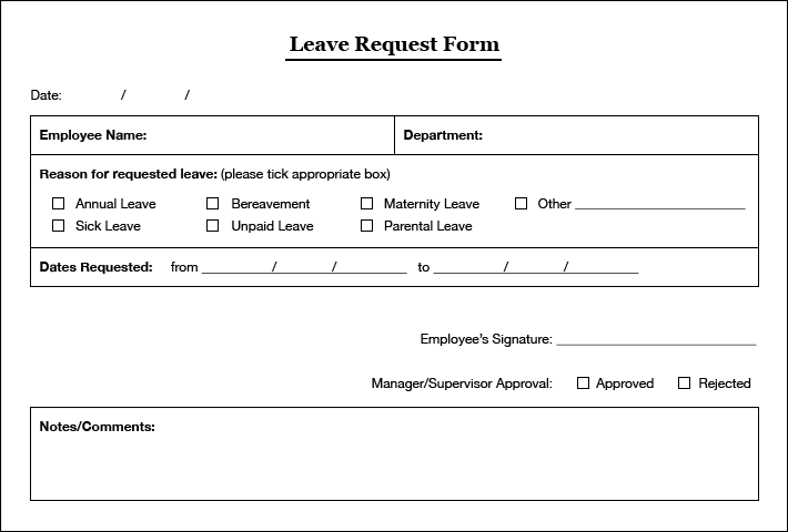 Application For Leave Form Simple Leaves Application Form Template  Excel Template