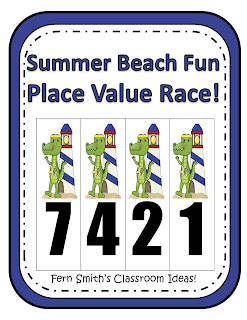 Fern Smith's Place Value Race Game, Gator Beach Fun!