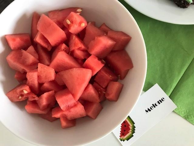 Minecraft-Geburtstag- Buffet mit Melone