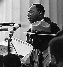 Martin Luther King, Jr. dando el discurso en la Marcha en Washington por los Derechos Civiles.