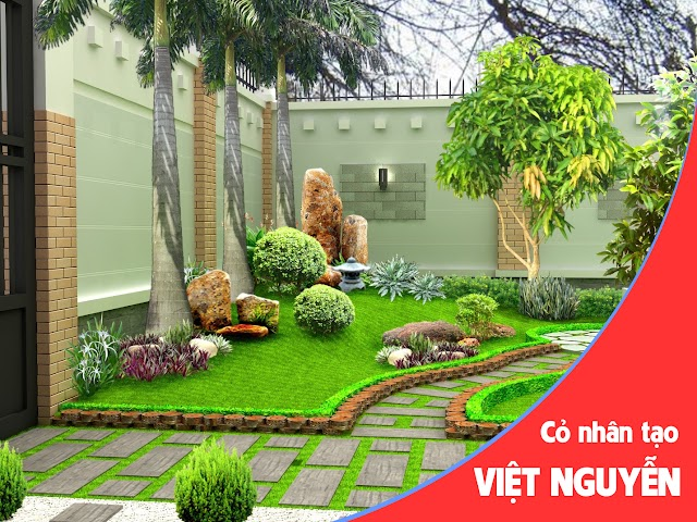 Những mẫu thiết kế sân vườn kết hợp cỏ nhân tạo đẹp mãn nhãn