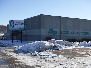ibp ice center in Sioux City, Iowa with snow plowed in front