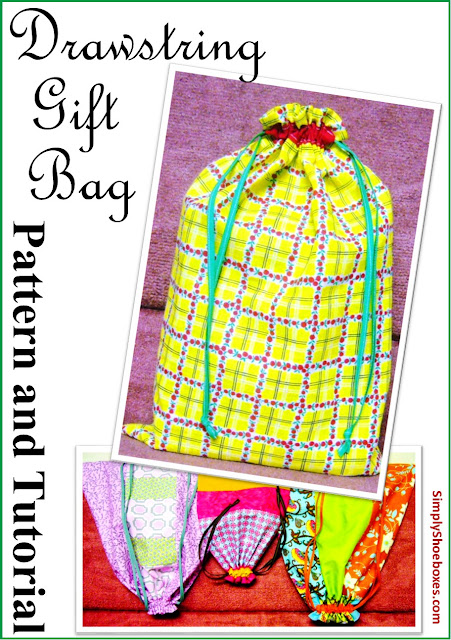 Drawstring gift bag pattern & instructions made to hold an Operation Christmas Child shoebox.
