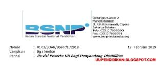 Revisi Peserta Ujian Nasional Bagi Penyandang Disabilitas Tahun 2019