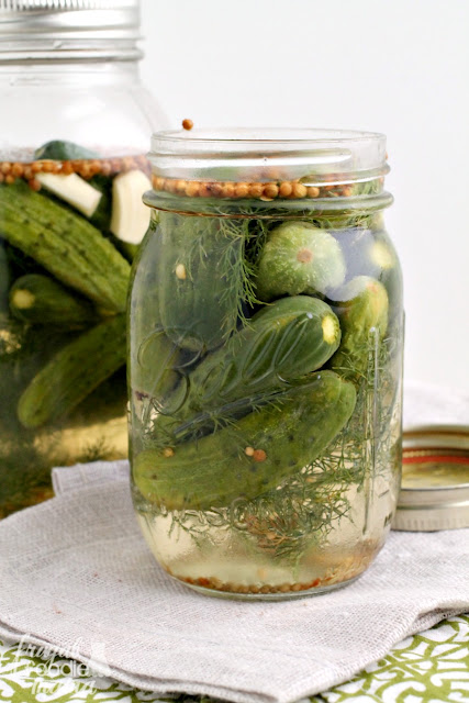 These Refrigerator Baby Garlic Dill Pickles are perfectly crisp & crunchy with an amazing garlic flavor and just a little hint of heat.