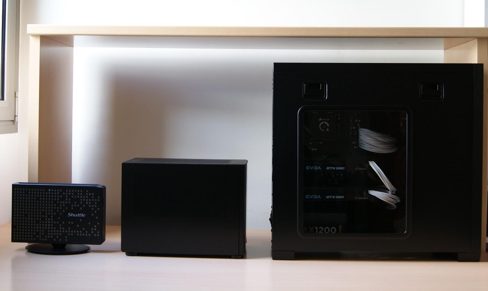 Tamaños de PC: Shuttle PC XS35GTV2, PC SFF Mini-ITX, y PC semitorre ATX