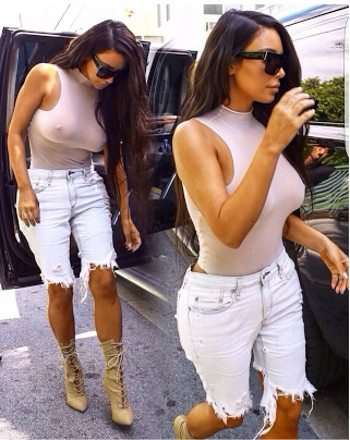 Kim Steps Out Showing her goody-bag, #NoBraDay way of Life!