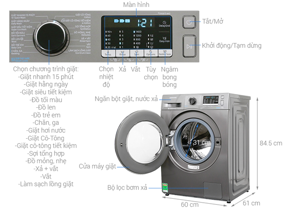 Máy giặt Samsung WW80J54E0BX/SV