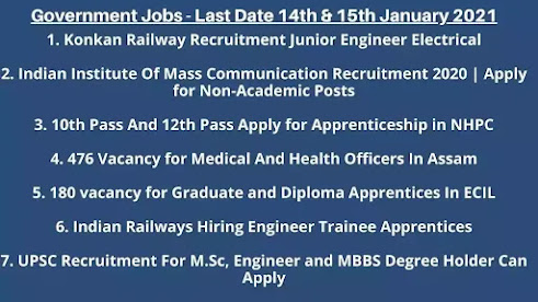 Government Jobs - Last Date 14th & 15th January 2021