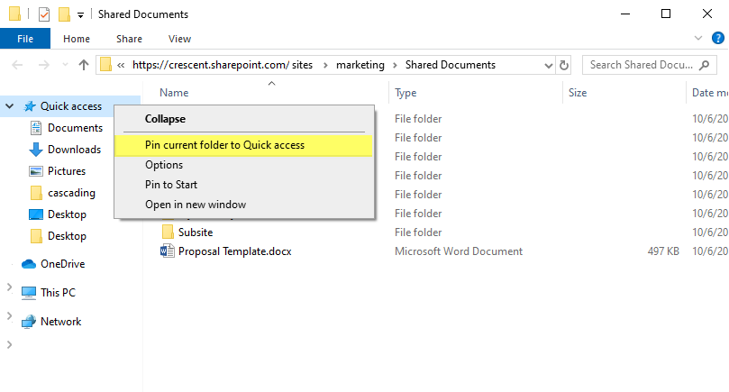 how to pin to quick access from sharepoint