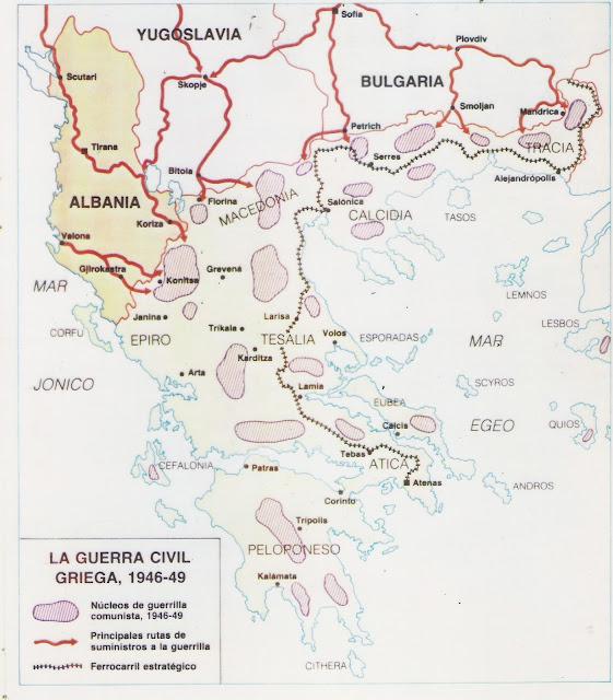 Resultado de imagen de guerra civil griega mapa