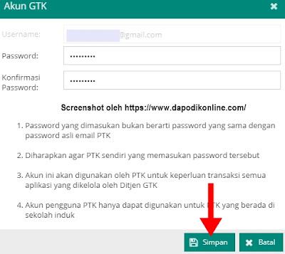 Buat password baru dan konfirmasi password, kemudian klik Simpan