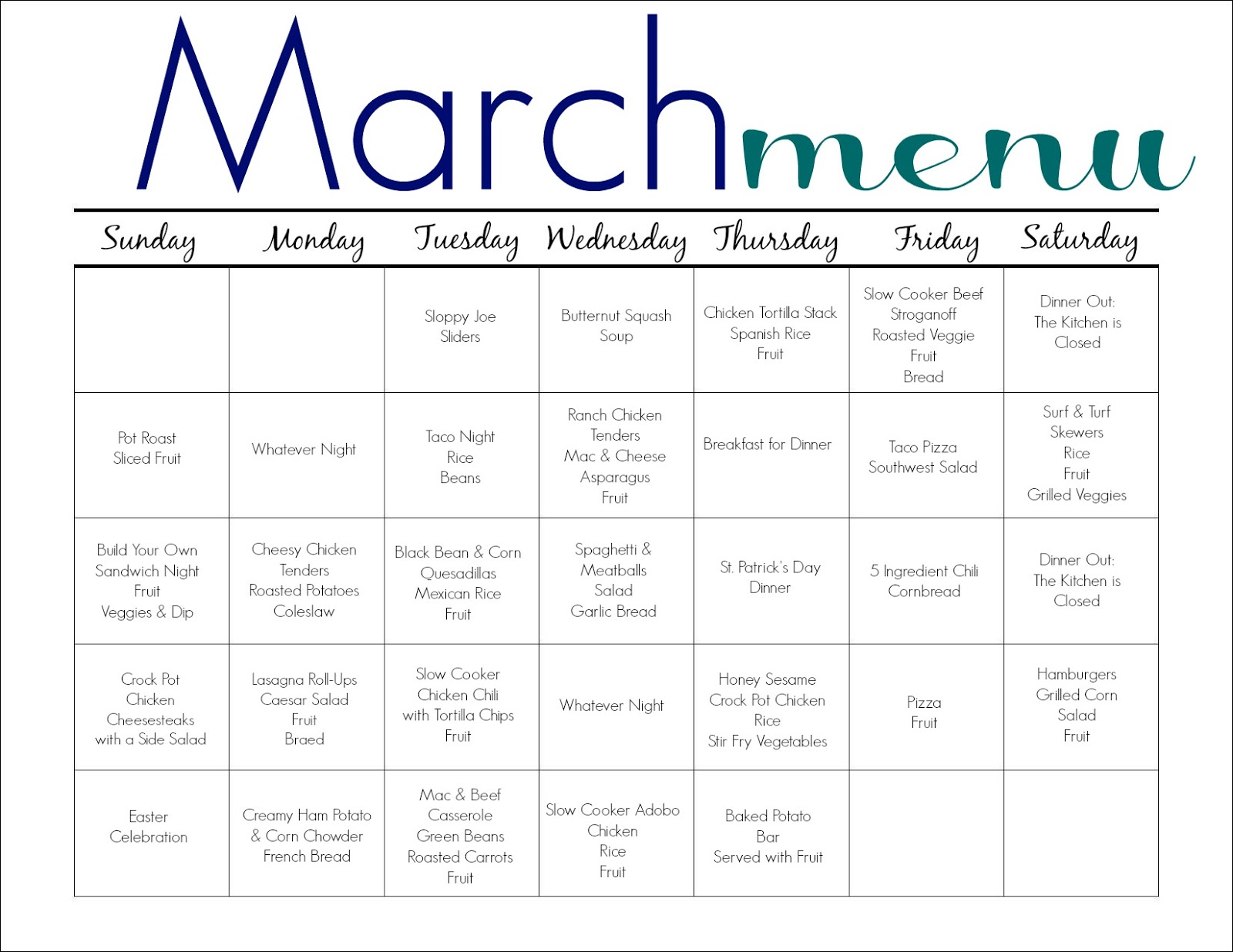 March Meal Plan For Families Free Printable