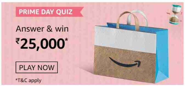 Amazon Prime Day Quiz Answers Today Win Rs.25000 Pay Balance(2 August)