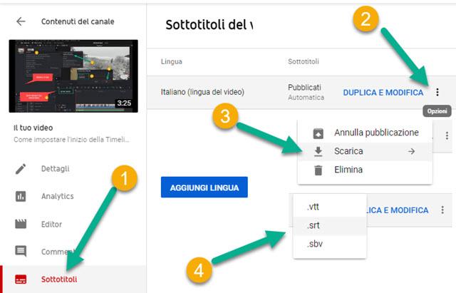 scaricare i sottotitoli automatici di youtube
