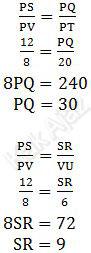 Perbandingan sisi-sisi trapesium PQRS dan PTUV, kesebangunan