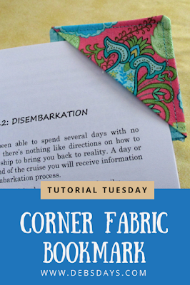 Quick and Easy Fabric Homemade Corner Bookmark Sewing Project