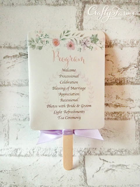 Floral Wedding Ceremony Programme Fans with Lilac Ribbon