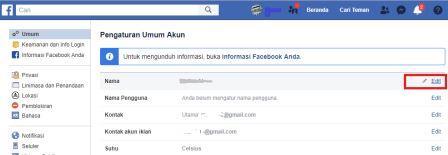 cara mengganti nama facebook fb