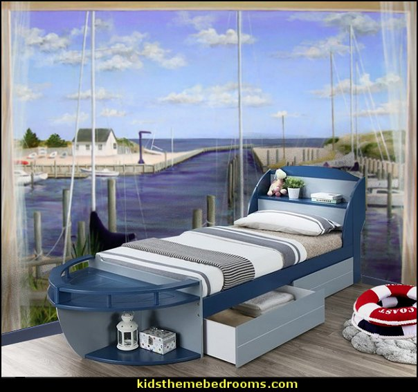 boat bed nautical mural  kids theme beds - childrens theme beds - themed beds - kids beds - themed toddler beds - unique furniture - castle loft beds - castle beds - animal beds - car beds - boat beds - train bed - airplane bed - batman bed - princess beds -  fantasy beds - playroom beds - boys beds - girls beds