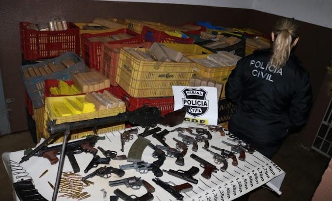 Policia Civil apreende quase duas toneladas de maconha e 25 armas do crime organizado em Foz