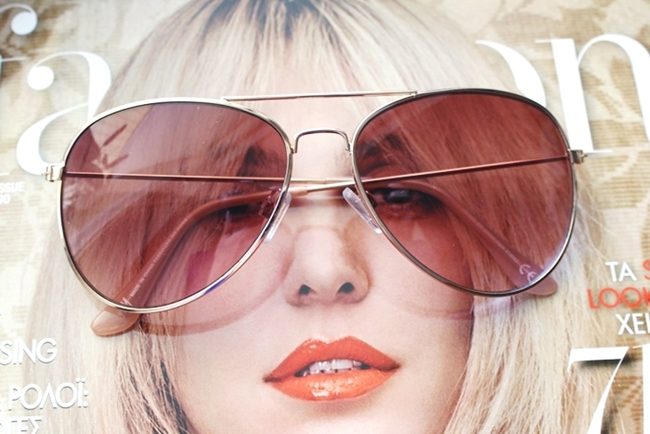 H&M rose gold frame aviator sunglasses