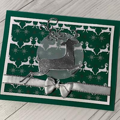 Christmas card idea using Stampin' Up! Detailed Deer Dies