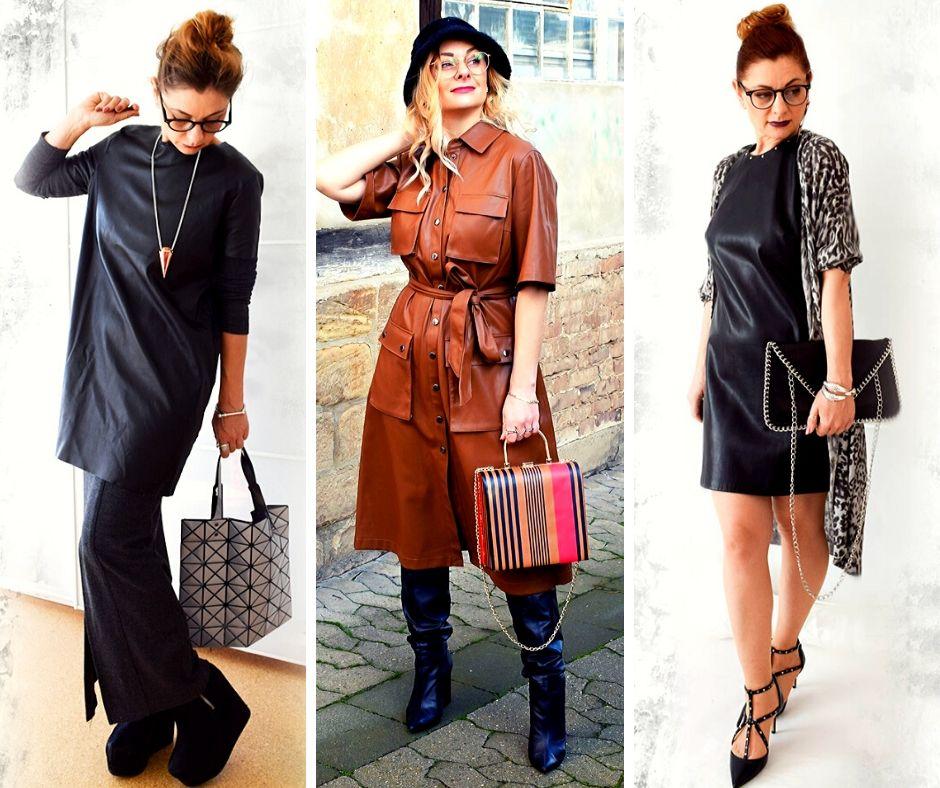 Kunstleder-Kleid-Outfits