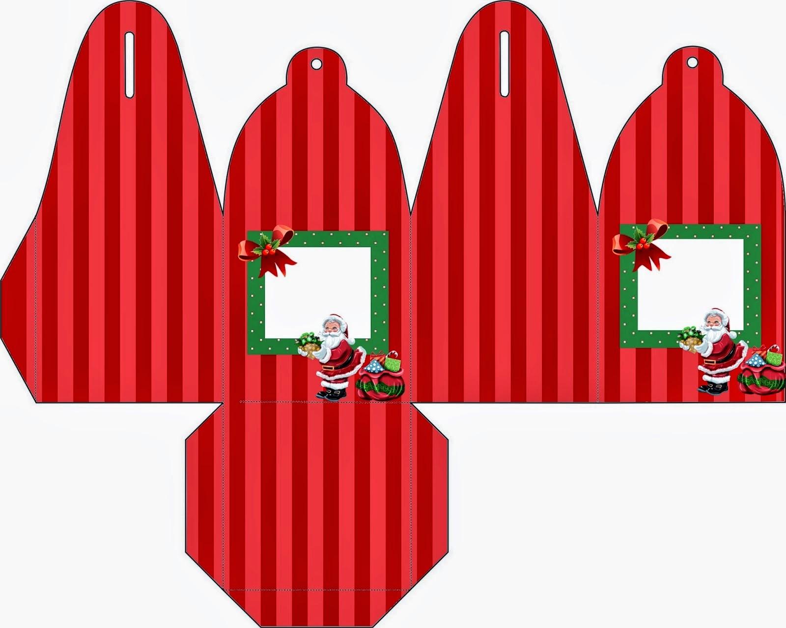 Caja para cupcakes, chocoltes o golosinas de Santa en Navidad.