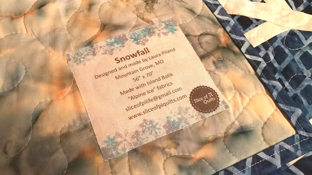 Printed quilt label on my Snowfall quilt