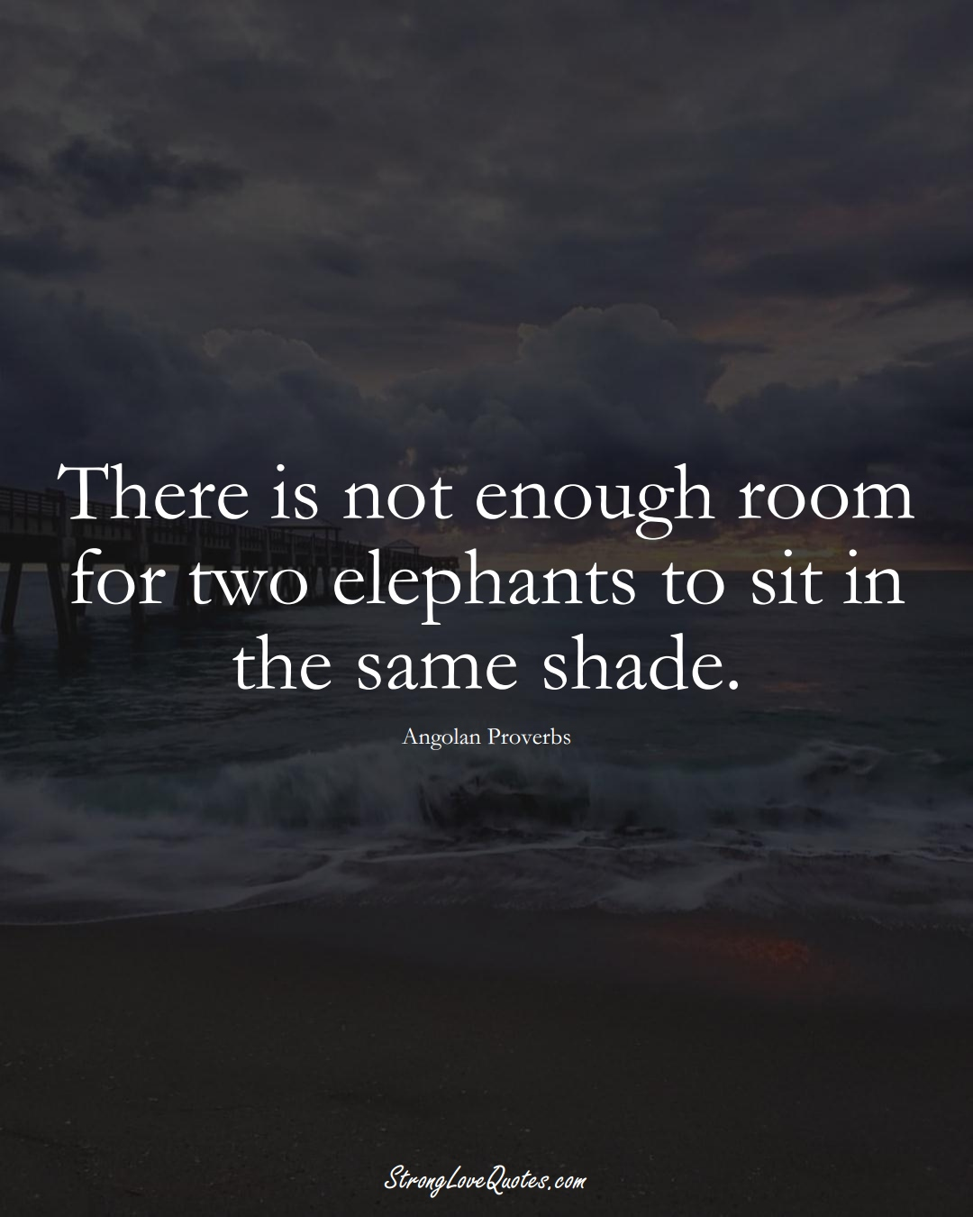 There is not enough room for two elephants to sit in the same shade. (Angolan Sayings);  #AfricanSayings