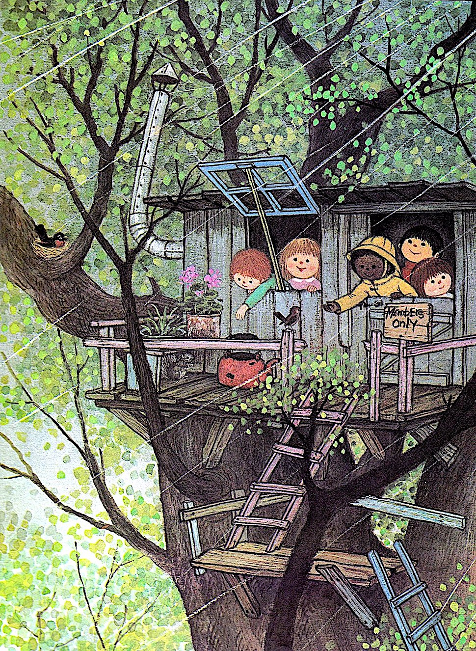 a Gyo Fujikawa children's book illustration of a treehouse in a Spring shower