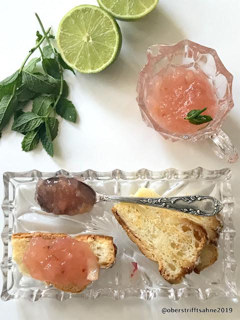 Pfirsichmarmelade mit Gin, Limette und Minze