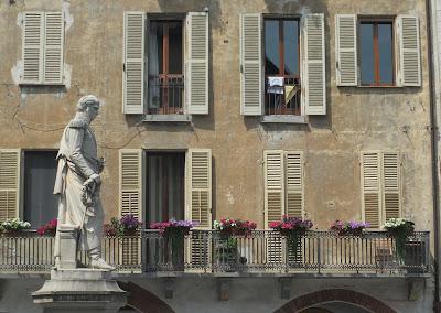Statue of Santorre di Santa Rosa on Piazza Santarosa, Savigliano.