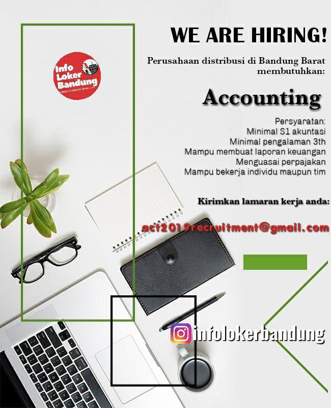 Lowongan Kerja Accounting Perusahaan Distribusi Bandung Barat Juli 2019